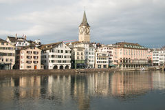 Winter view of the historic center of Zurich city Stock Photos