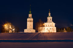 Winter view of historical centre. Veliky Ustyug, Russia. Royalty Free Stock Photos