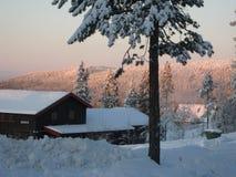 Winter view. Of Idre mountain village royalty free stock photo