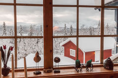 Winter view from inside cottage Royalty Free Stock Image