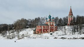 Winter view of the Kazan Transfiguration Church in Tutayev. On the Volga River, in Russia Royalty Free Stock Images