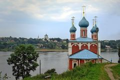 The Transfiguration Church of Kazan in the city of Tutaevon the Volga River. Winter view of the Kazan Transfiguration Church in Tutayev, on the Volga River, in Royalty Free Stock Image