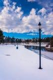 Winter view of Kiwanis Lake, in York, Pennsylvania. Stock Photo