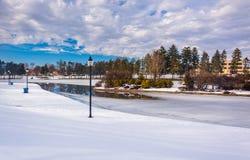 Winter view of Kiwanis Lake, in York, Pennsylvania. Stock Photography