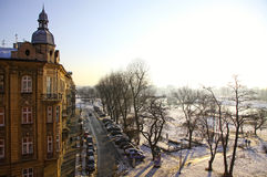 Winter view of Krakow city Royalty Free Stock Image