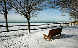 Winter view by the lake Royalty Free Stock Image