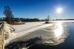 Winter view from lake bridge Stock Photo