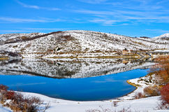 Winter view of Lake Campotosto Royalty Free Stock Image