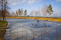 Winter view of lakes and parks near Kyiv Sea Royalty Free Stock Image