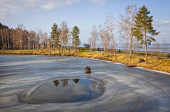 Winter view of lakes and parks near Kyiv Sea Stock Photo