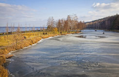 Winter view of lakes and parks near Kyiv Sea Stock Photos