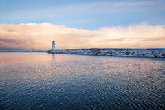 Winter view of a lighthouse in Trondheim Stock Photography