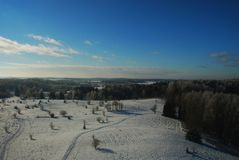 Winter view in Lithuania. Winter view from tower in Lithuania stock photo