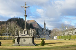 Winter view of Lourdes Royalty Free Stock Images