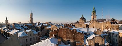 Winter view of Lviv, Ukraine central part. Rooftops covered with snow in the center of Lviv, Ukraine stock photos