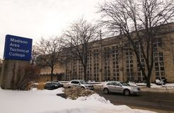 Winter view of the Madison Area Technical College, MATC, in Madison, Wisconsin. Winter view of the Madison Area Technical College, MATC, a technical and stock photo