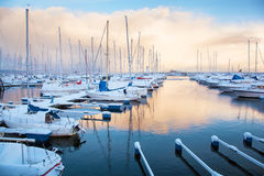 Winter view of marina in Trondheim Royalty Free Stock Photography