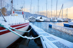 Winter view of marina in Trondheim Royalty Free Stock Image