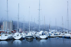 Winter view of a marina in Trondheim at stormy weather Royalty Free Stock Photography
