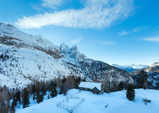Winter view on Marmolada mountain , Italy. Royalty Free Stock Photography