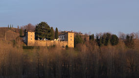Winter view of the medieval Trussio castle Stock Photo