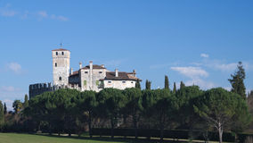 Winter view of the medieval Villalta castle Stock Photo