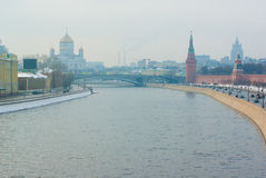 Winter view at Moscow center with kremlin wall Royalty Free Stock Images