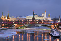 Winter view of Moscow river and Kremlin Royalty Free Stock Image