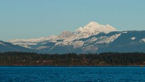 Mount Baker Landscape. Winter view of Mount Baker with Padilla Bay in the foreground Royalty Free Stock Photo