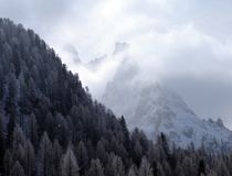 Winter mountain landscape. Italian Dolomites under snow Royalty Free Stock Images