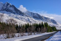 Winter view of the mountain range seven sisters in Alstadhaug, N royalty free stock images