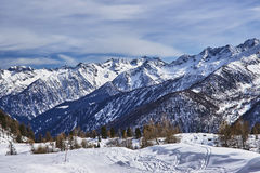 Winter view of the mountains in Pejo, Italy Royalty Free Stock Photography