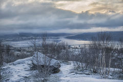 Winter view from the mountains to the sea, the bridge and the city. Russia, Murmansk Stock Photos