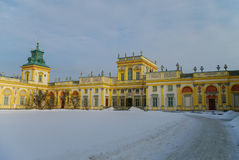 Winter view of Museum of King Jan III's Palace in snow. Wilanow. royalty free stock photos