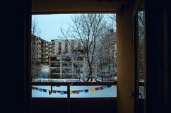 Winter view from my balcony. Winter is long, dark and hard in Northern part of this world. This one i took around mid winter stock image