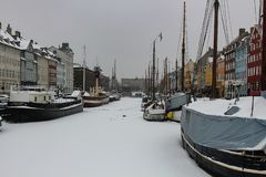 Winter view of the New Harbor in Copenhagen, Denmark royalty free stock images