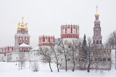 Russian orthodox churches in Novodevichy Convent Stock Image