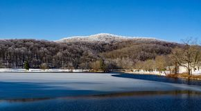 Winter View Of Abbott Lake With Harkening Hill Royalty Free Stock Photos
