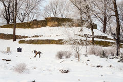 Winter view of old city bastion Royalty Free Stock Images