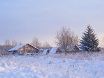 Winter view of old farm house Stock Image