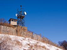 Winter view of old military base on hill royalty free stock photos