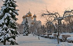 Winter view of the old Russian city of Yaroslavl. And the Assumption Cathedral in the background Royalty Free Stock Images