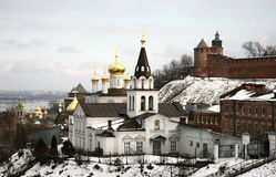 Winter view of orthodox сhurch and Kremlin Nizhny Novgorod Royalty Free Stock Photo