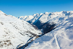 Winter view of the Otztal Alps and Gurgler Valley Stock Photo