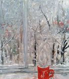 Winter view outside the window in frost, red cup of hot coffe royalty free illustration