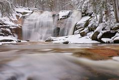 Winter view over snowy boulders to cascade of waterfall. Wavy water level.. Stream in deep freeze. Stock Photography