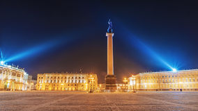 Winter view of the Palace Square in St. Petersburg at night Royalty Free Stock Images