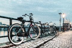 Winter view of parked bicycles alongside the Dutch river Maas royalty free stock images