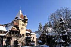Winter view of Peles Complex, Sinaia, Romania Royalty Free Stock Image