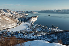 Winter view of Petropavlovsk-Kamchatsky City, Avacha Bay and Pacific Ocean Stock Photos